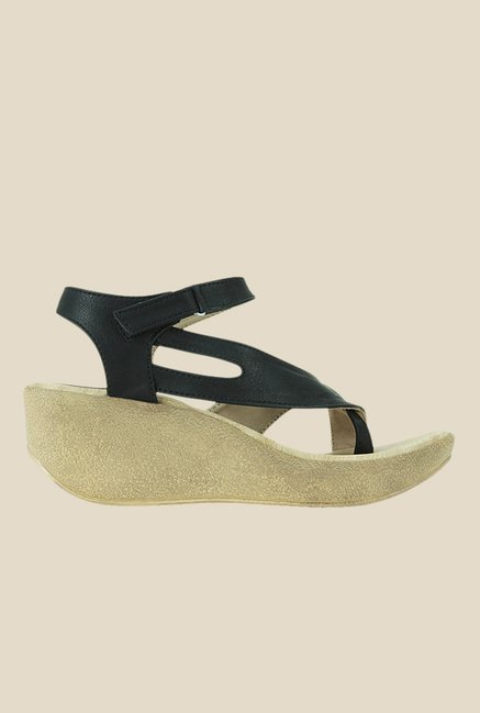 Get Glamr Sweeney Black Ankle Strap Wedges