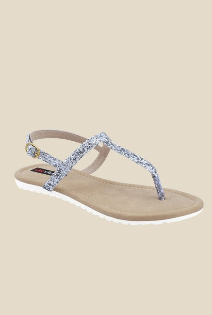 Get Glamr Joan Silver Back Strap Sandals