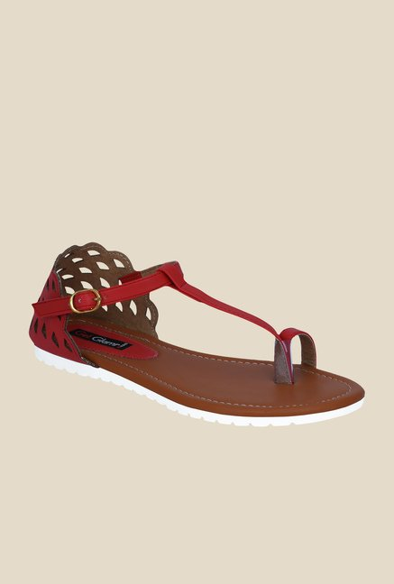 Get Glamr Dora Red Ankle Strap Sandals