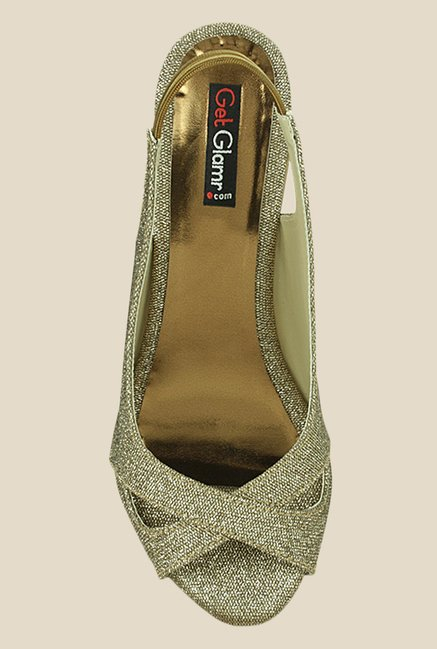 Get Glamr Maria Brown & Golden Sling Back Sandals