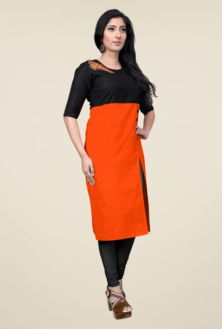 Occeanus Orange Solid Cotton Kurta