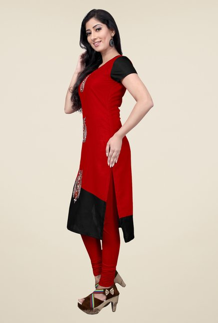 Occeanus Maroon Embroidered Kurta