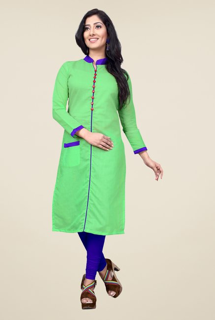 Occeanus Green Solid Cotton Kurta