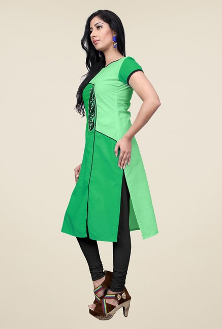 Occeanus Green Embroidered Cotton Kurta