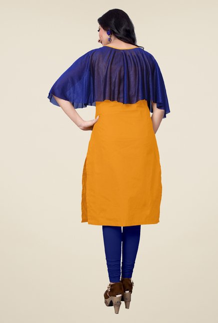 Occeanus Yellow Solid Elbow Sleeve Kurta