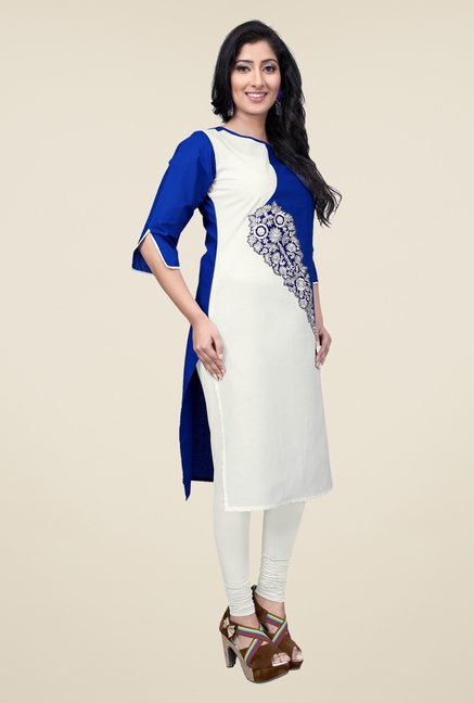 Occeanus White Embroidered Kurta