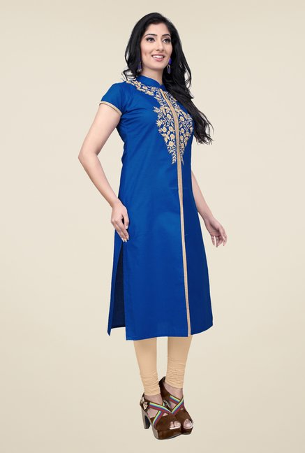 Occeanus Blue Embroidered Cotton Kurta