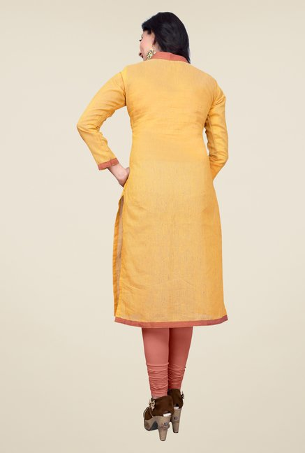Occeanus Yellow Solid Full Sleeve Kurta
