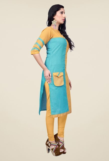 Occeanus Yellow Solid Kurta
