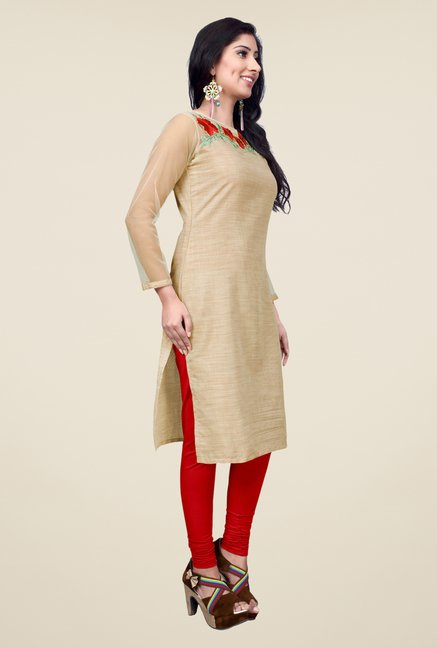 Occeanus Beige Embroidered Cotton Kurta