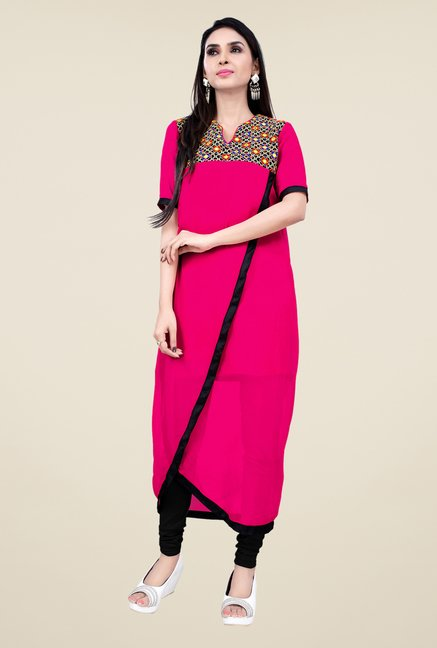 Occeanus Pink Embroidered Kurta