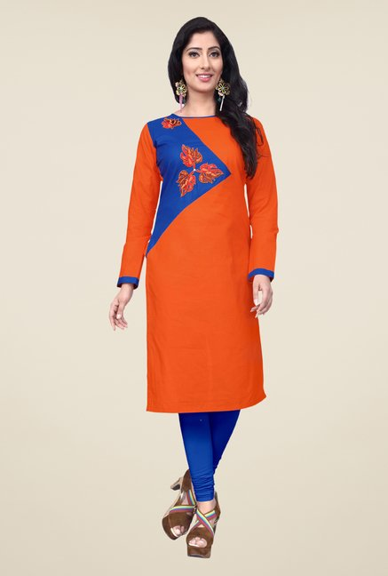 Occeanus Orange Embroidered Cotton Kurta