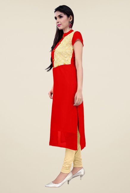 Occeanus Red Embroidered Short Sleeve Kurta