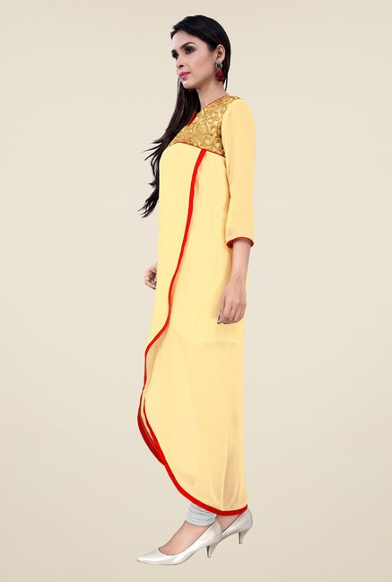 Occeanus Beige Embroidered V Neck Kurta