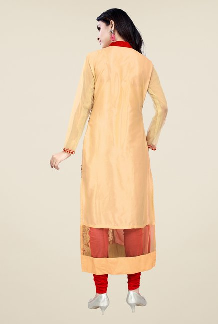 Occeanus Beige and Red Printed Kurta