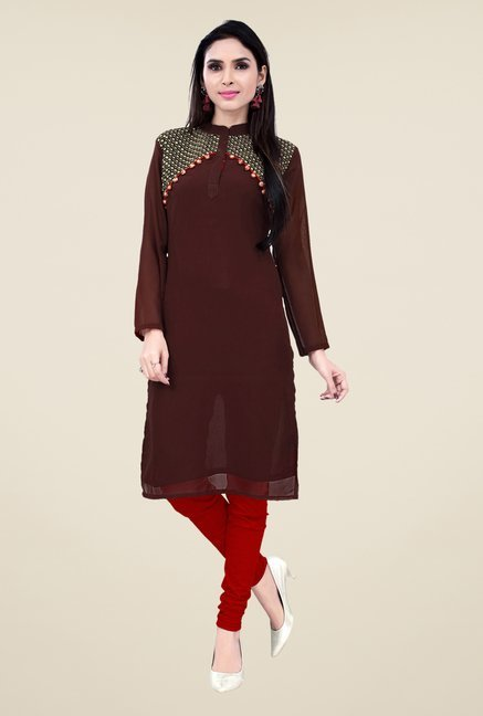 Occeanus Brown Embroidered Kurta
