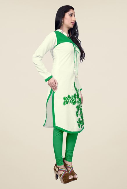 Occeanus Off White Embroidered Kurta
