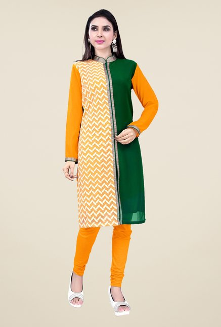 Occeanus Orange and Green Printed Kurta