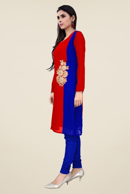 Occeanus Red Embroidered Full Sleeve Kurta