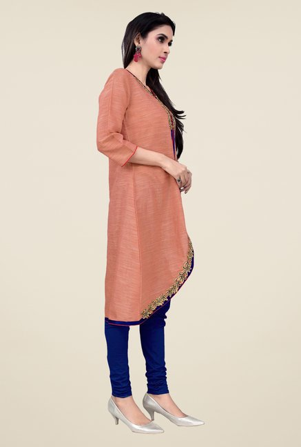 Occeanus Peach Embroidered Designer Kurta