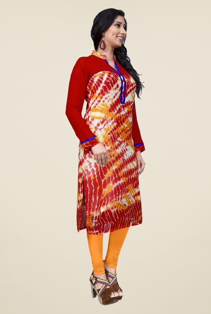 Occeanus Red Printed Kurta