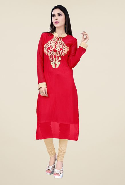 Occeanus Red Embroidered Kurta