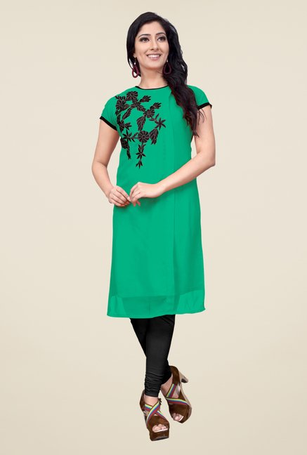 Occeanus Green Embroidered Short Sleeve Kurta