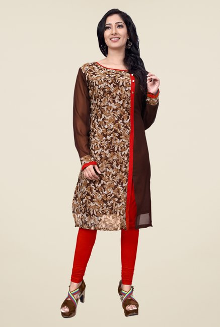 Occeanus Brown Printed Kurta