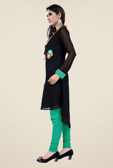 Occeanus Black Embroidered Full Sleeve Kurta