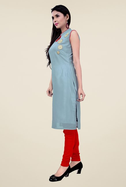 Occeanus Grey Embroidered Kurta