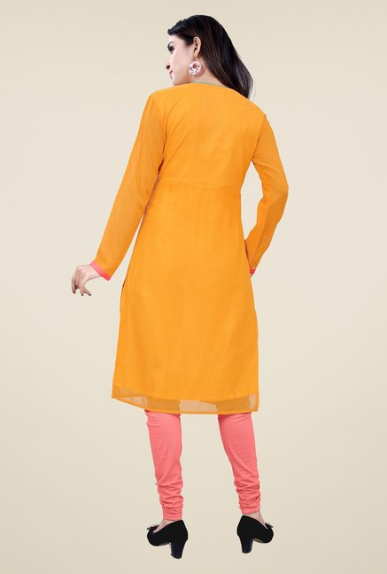 Occeanus Orange Embroidered Full Sleeve Kurta