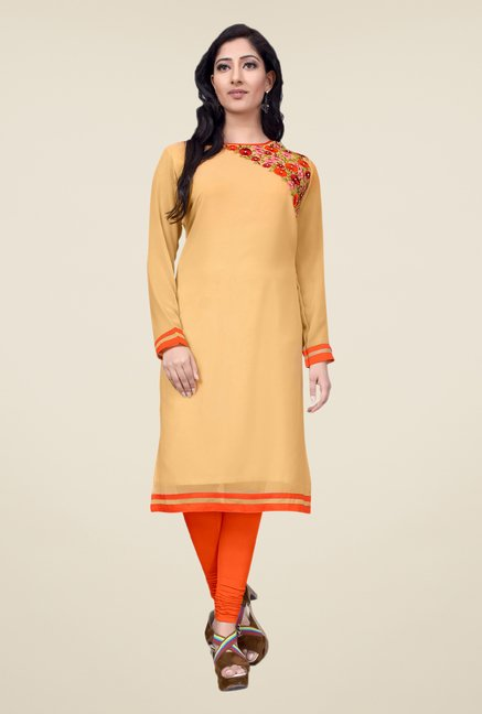 Occeanus Beige Embroidered Kurta