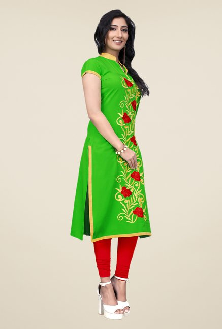 Occeanus Green Embroidered Kurta