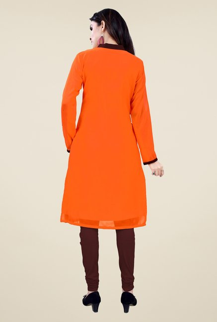 Occeanus Orange Solid Kurta