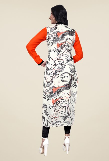 Occeanus Orange and Off-white Printed Kurta