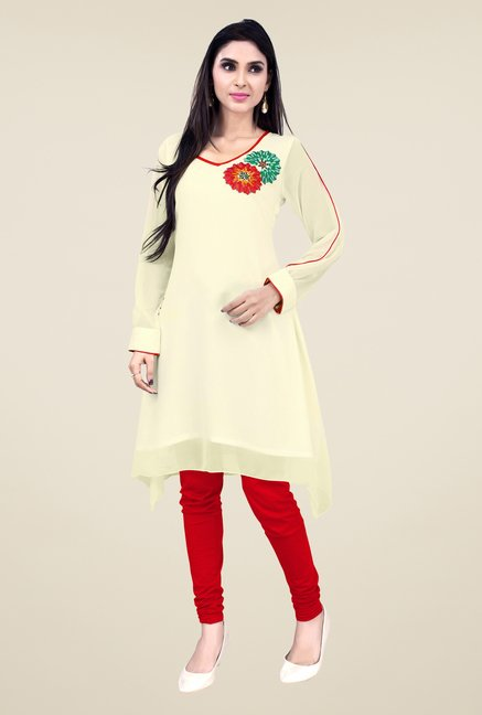 Occeanus Beige Embroidered Full Sleeve Kurta