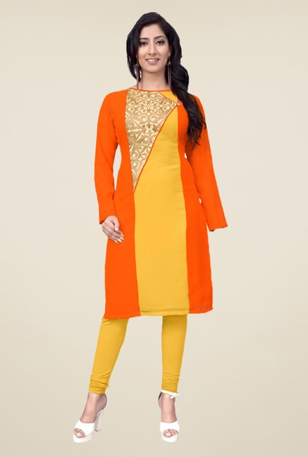 Occeanus Orange Embroidered Kurta