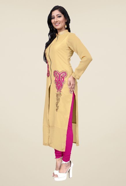 Occeanus Beige Embroidered Band Neck Kurta