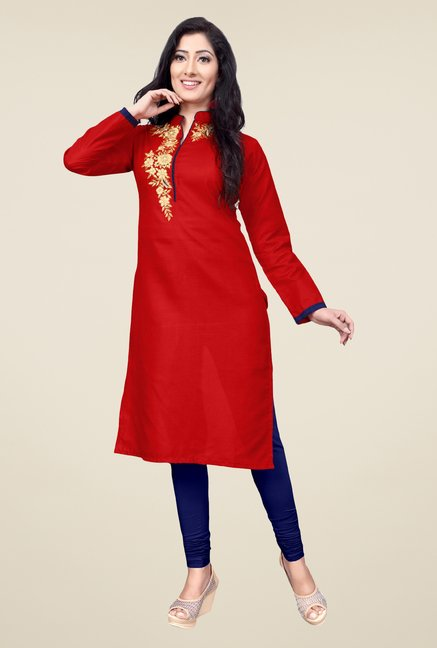 Occeanus Red Embroidered Cotton Kurta