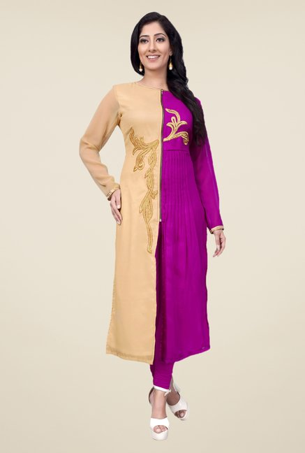 Occeanus Beige and Pink Embroidered Kurta