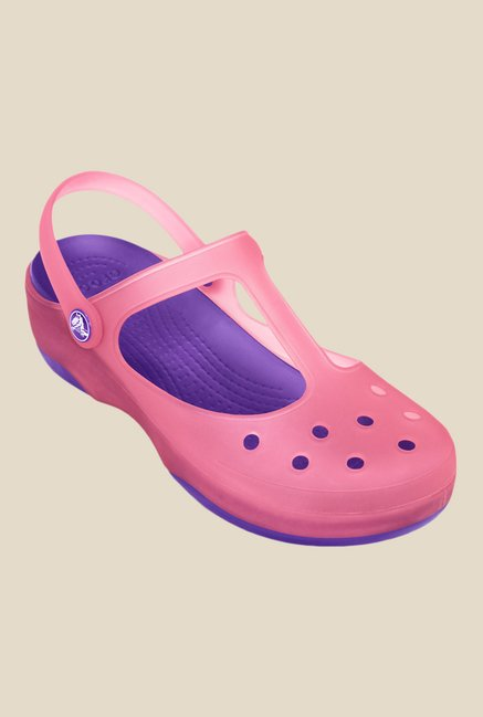 Crocs Carlie Mary Jane Coral & Neon Purple Clogs