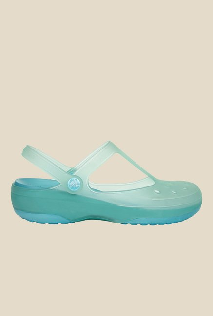 Crocs Carlie Mary Jane Sea Foam & Aqua Clogs