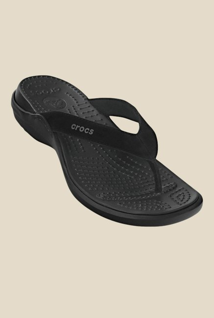 bd7d2a46b3a7 Buy Crocs Capri IV Black Flip Flops For Women Online At Tata CLiQ