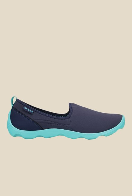 Crocs Duet Busy Day Skimmer Nautical Navy & Pool Slip-Ons