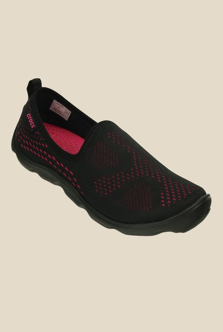 Crocs Duet Busy Day Xpress Skimmer Black & Pink Slip-Ons