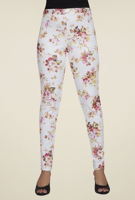 Desi Belle White Floral Jeggings