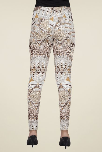 Desi Belle Beige Printed Jeggings