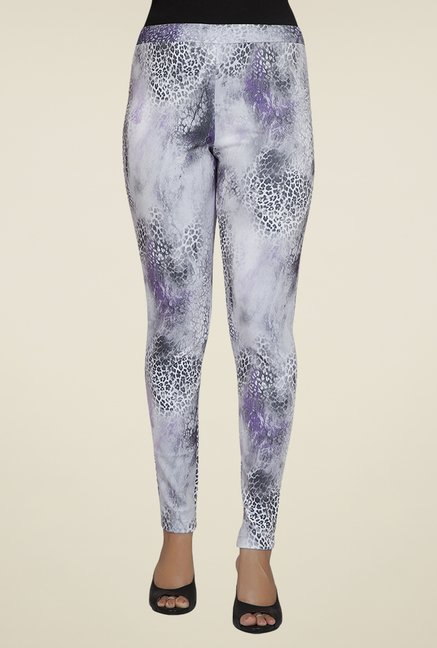 Desi Belle Grey Printed Jeggings