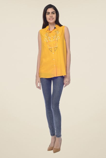 Desi Belle Yellow Embroidered Shirt
