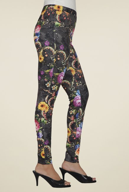 Desi Belle Grey Floral Jeggings